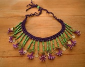 green necklace with purple oya flowers, crochet and needle lace