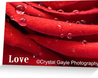 Love Valentine's Day Greeting Card, Romantic Anniverary Note for Wife, Macro Water Droplets, Rose Petals, Valentine's Day Gift