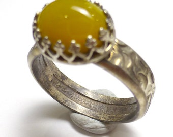 Yellow Opal Ring Size 7 Byzantine Royal Style Fancy Sterling Silver Mexico Oval One of a Kind Handmade by Lisajoy Sachs Design Oxidized