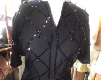 Late 1930s/early '40s Black Crepe Sequined Dress, lrg