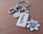 Key Chain Sister, Sister-in-Law, Believe, Faith, Granddaughter, Grandmother with Mini Domino and Silver-tone Charm Kristin Victoria Designs