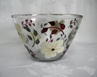 Serving bowl, hand painted serving bowl, large serving bowl, serving bowl with ivory flowers, kitchen bowl