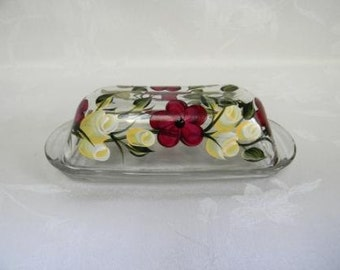 Butter dish-hand painted butter dish-painted Glass butter dish