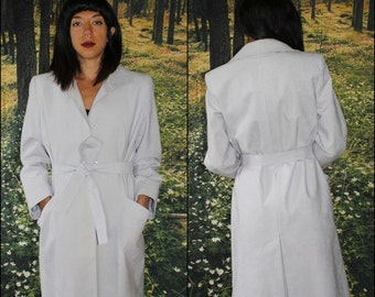 Vintage / 1970s - 80s /  Dusty Grey / UltraSuede Leather / Trench Coat / Dress Coat / Made in USA