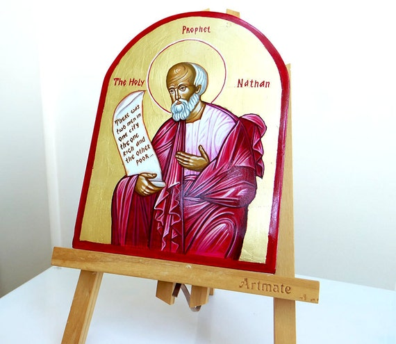 Saint Nathan, Handpainted Icon Original on wood, 6 x 8 inches, MADE TO ORDER