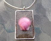 Shell and Sand Pendant Encased in Resin - Your Sand and Your Shell - Memories