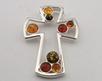 Delicate and elegant Sterling Silver amber green  honey  Cross Pendant  4014