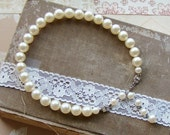 Vintage Ivory Faux Pearl Necklace with Art Deco Rhinestone Hook Clasp