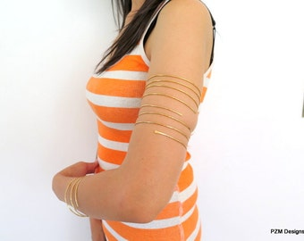 Triple wrap upper arm cuff, above the elbow tribal bracelet coil, gift under 30