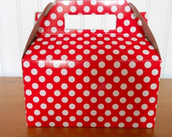 Polka Dot Take Out Party Boxes- Order of (12), Minnie Mouse favor box, Mickey Mouse favor box, Mickey Mouse Birthday, Minnie Mouse birthday