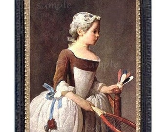 1700's Racket Girl Portriat Miniature Dollhouse Art Picture 6290