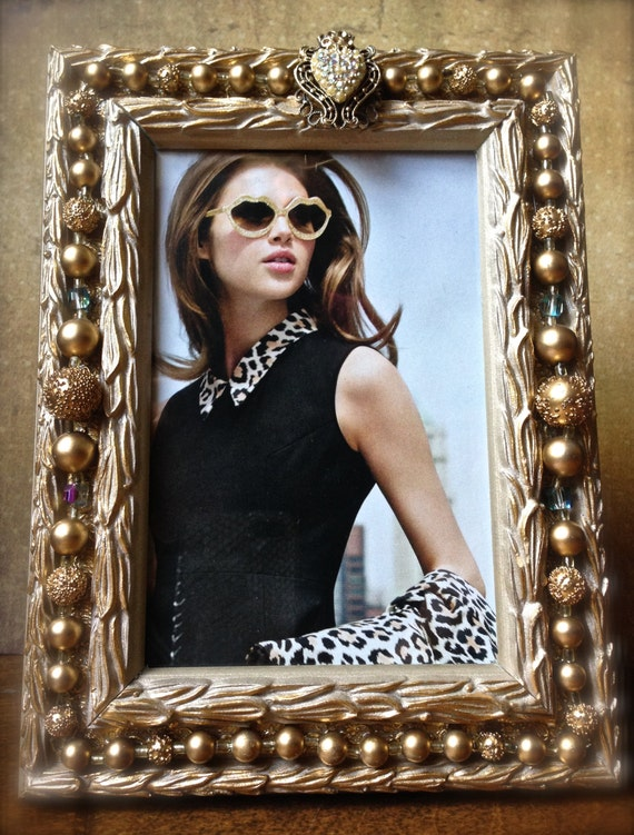Jewelry embellished photo frame- Personalized Photo Gift- Holiday Gifts- Unisex Gifts- Gifts Under 50- Handmade Gifts- Gold Frame