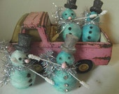 Set of Four Vintage Spun Cotton Snowmen - Hand Dyed - Blue