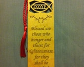 Wood Scripture Bookmark - Beatitudes Matthew 5:6 - Blessed are those who hunger and thirst for righteousness