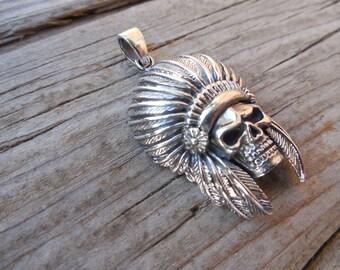 Indian skull pendant in sterling silver 925