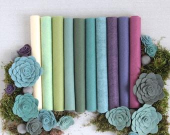Wool Felt // Sweet Succulents // Felt Succulents, Merino Wool, Felt Plants, Felt Flowers, Succulent Palette, Garden Felt Kit, DIY Succulents