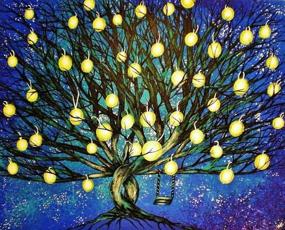 Fine Art Giclee Print of Original Painting Under the Starry Stillness Amber Elizabeth Lamoreaux Surreal Art Night Sky Stars Lantern