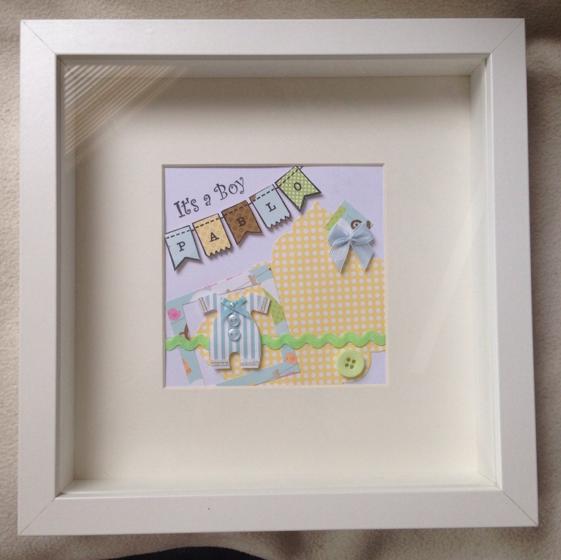 Just Had A Baby Gift Ideas : Personalised gift framed picture new baby