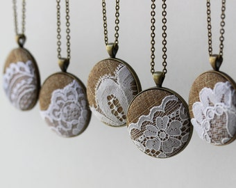 Set of 5 Bridesmaid Necklaces, Burlap And Lace Wedding Gift Set, Rustic Jewelry, Unique Pendants