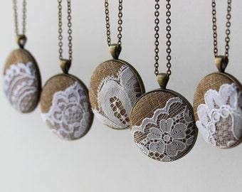 Burlap and Lace Wedding Jewelry, Lace Necklace, Bridesmaid Necklace, Rustic Wedding, Boho Jewelry, Gift Set, Unique Bridal Shower Favors