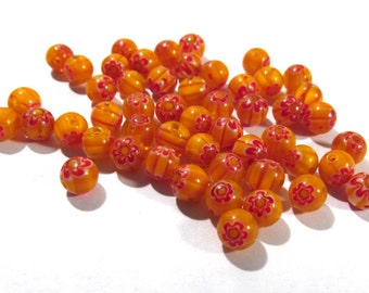 Millefiori Beads VINTAGE Beads Fifty (50) Glass MILLEFIORI 6mm Beads Orange Red Jewelry Supplies Beading Supplies Unused Store Stock (F57)