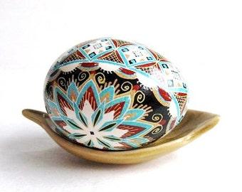 Blue Brown Pysanka, batik egg on chicken egg shell, Ukrainian Easter egg, hand painted egg