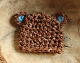 Newborn Bear Hat, Baby Boy Hat, Baby Crochet Hat, Baby Bear Hat, Blue and Brown Bear Hat, Newborn Prop, Baby Photo Prop