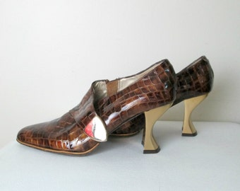 Vintage Faux Reptile Shoes Booties / Gold Curved Heel / Brown Faux Lizard Gold Chain Detail