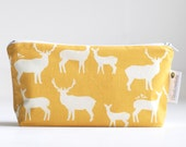 small cosmetic bag. yellow. woodland elk. waterproof. make up bag.