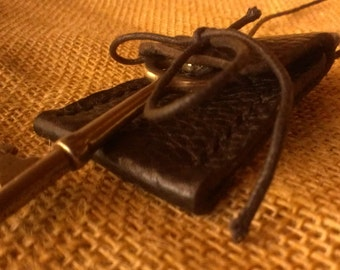 Handmade Tiny Leather Neck Pouch with Skeleton Key