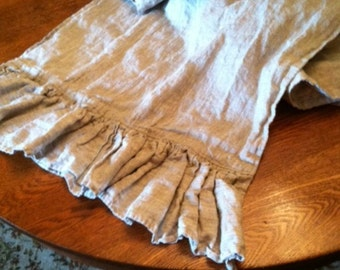 Ruffled Table Runner in Washed Oatmeal Linen-Extra Long Length