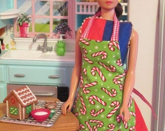 CANDYCANE  APRON for BARBIE