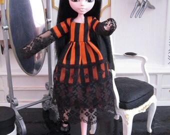 ORANGE STRIPE dress for MONSTER High doll