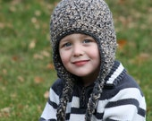 Fluffy Crochet Earflap Hat Weathered Stone - Choose Your Size