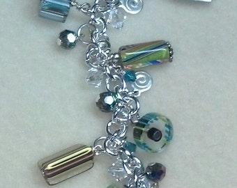 Carnival Cane glass charm bracelet
