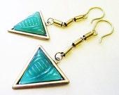 Art Deco Arrowhead Earrings, Vintage Glass and Brass Chain