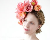 Floral Crown - Coral Rose Lilly - Fabric Flowers Pink Powder - Oversized Pinks Headpiece Wreath Wedding Whimsical Bridal Garden Summer Party - EllaGajewskaHATS