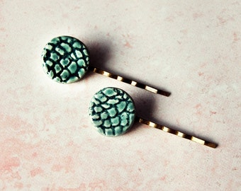Pair of Ceramic Hair Pins- Glazed in Dark Teal Green - Hair Jewelry Accessory Bobby Pin - Crocheted Texture