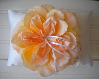 Peach Peony Ring Bearer Pillow