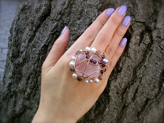 Constellation - Statement Rose Quartz Ring (CS-09)
