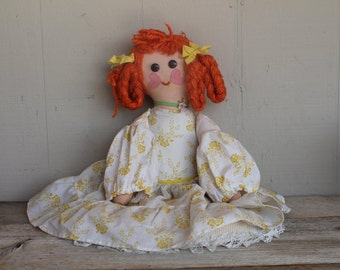 Vintage 1940's Handmade Boutique Doll //  Cloth Doll // Rag Doll // Red Head Doll