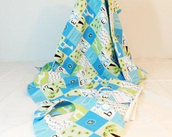 Layette Set Flannel Blanket, bib and burp cloths set patchwork blue print with alphabet and animal blocks