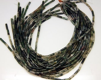 1strand - natural moss agate plain post sized 4 by 13mm