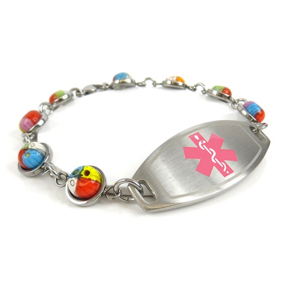Womens Medical Alert Bracelet Engraved Round Millefiori