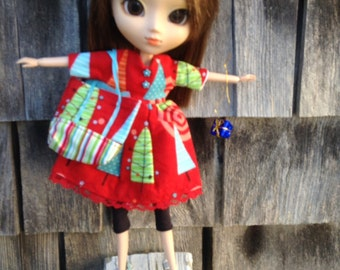 Xmas 8.  Flannel v neck tree dress