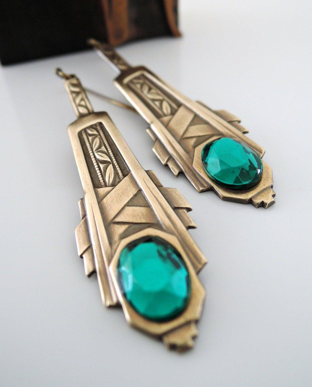 Art Deco Earrings Emerald Green Earrings Vintage Earrings