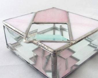 Pink and Rose Iridescent Stained Glass Jewelry Trinket Box