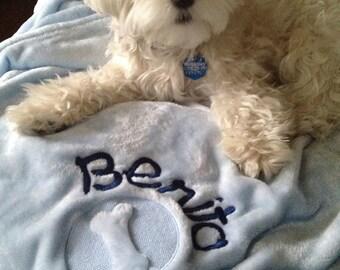Cozy Dog Blanket-Embossed Bone or Pawprint