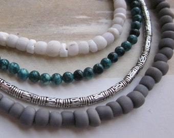 grey white teal silver multi-strand - the jeanne necklace