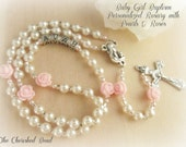 Catholic Baby Girl Personalized Baptism Rosary Pearls, Pink Roses